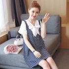 Short-Sleeve Bow-Accent Striped Dress 1596