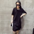Elbow-Sleeve Distressed Dress Gray - One Size от YesStyle.com INT