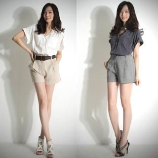Picture of 782RUSH High-Waist Linen Shorts 1023033239 (Womens Shorts, 782RUSH Pants, South Korea Pants)