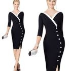 V-neck Elbow-Sleeve Dress 1596