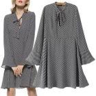 Tie-Waist Dotted Chiffon Dress 1596