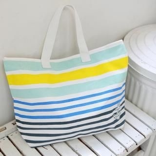 Picture of REDOPIN Striped Canvas Tote 1022928315 (REDOPIN, Tote Bags, Korea Bags, Womens Bags, Womens Tote Bags)