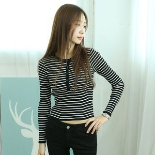 Stripe Ribbed Henley 1053113259