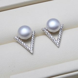 Freshwater Pearl Rhinestone Stud Earrings