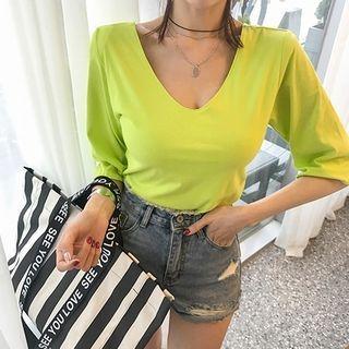 V-Neck Elbow-Sleeve T-Shirt 1065850549
