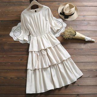 Image of Bell-Sleeve Midi Layered Dress