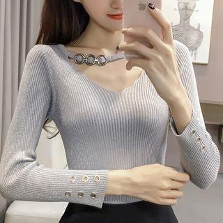 Long-Sleeve V-Neck Rib Knit Top 1062591114