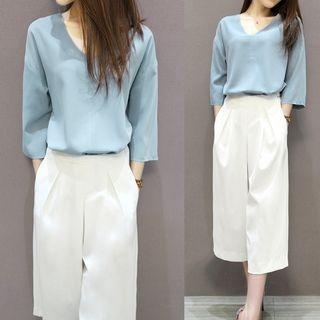 Set: V-Neck 3/4-Sleeve Top + Wide Leg Cropped Pants 1060196273