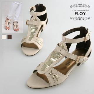 Buy FLOY SHOES Metallic T-Strap Sandals 1023053489