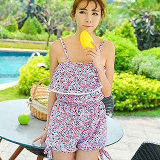Set: Ruffle Floral Tankini Top + Swim Shorts 1038286408