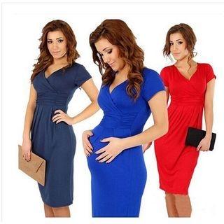 V-neck Short-Sleeve Dress 1049603122