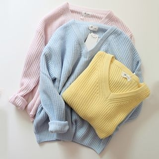 Ribbed V-Neck Sweater 1052794583