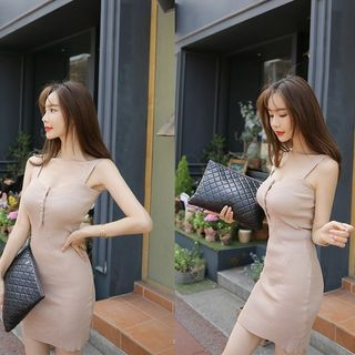 Sleeveless Button-Front Ribbed Bodycon Dress 1060559529