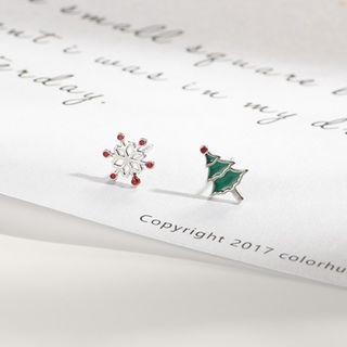 Snowflake & Christmas Tree Earrings R580 - One Size