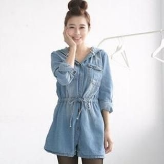 Drawstring-Waist Hooded Denim Long Shirt