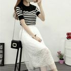 Set: Striped Knit Top + Lace Skirt 1596