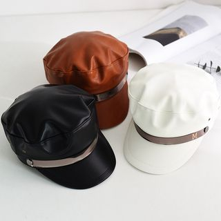 Image of Faux Leather Newsboy Hat