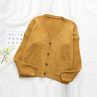 Ribbed V-neck Cardigan 1062037236