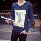 Long-Sleeve Print T-Shirt Black - XXXXL от YesStyle.com INT