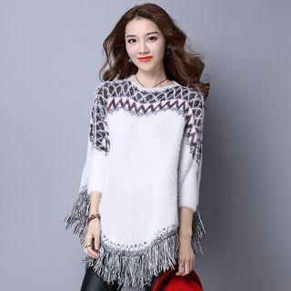Pattern Knit Poncho 1056423199