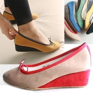 Faux-Suede Bow-Accent Wedges