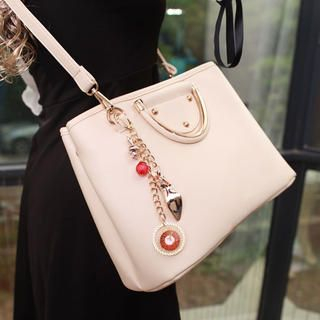 Faux-Leather Studded Crossbody Bag