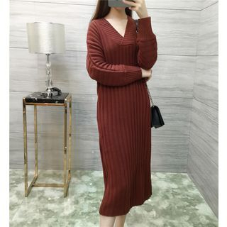 V-Neck Plain Rib Knit Midi Dress 1052874789
