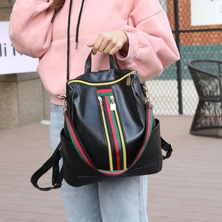 Striped Faux Leather Backpack 1063624455