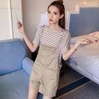 Set: Striped Short Sleeve T-Shirt + Plain Pinafore Playsuit 1596