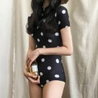 Dotted Short Sleeve Swimsuit 1596