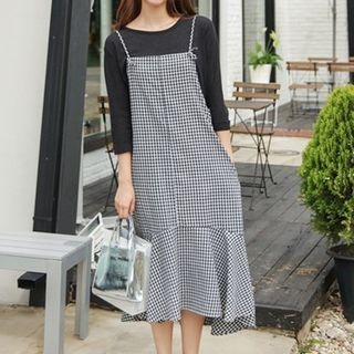 Gingham Spaghetti Strap Dress 1060388717