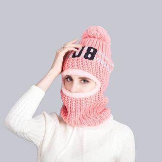 Pompom Knit Hat Face Mask