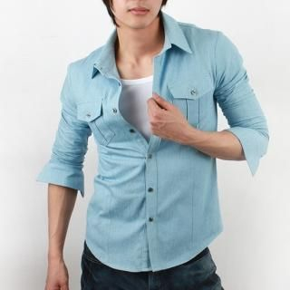 Buy SEOBEAN Long-Sleeve Denim Shirt 1022422688