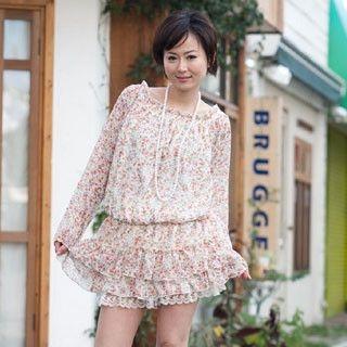 Picture of ageha@shibuya Drop-Waist Floral Print Tunic Off-White - One Size 1022149443 (ageha@shibuya Tees, Womens Tees, Japan Tees, Causal Tops, Print / Logo Shirts)