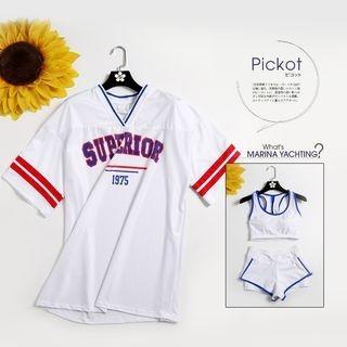 Set: Tankini Top + Swim Shorts + Letter Cover-Up 1066566422