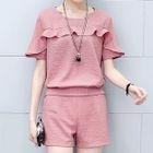 Set: Frilled Short-Sleeve Top + Shorts 1596