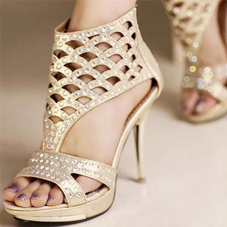 Buy Kvoll Rhinestone Cutout Platform Sandals 1023070436