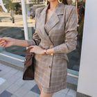 Metal-Button Plaid Mini Blazer Dress 1596