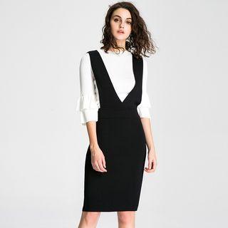 Set: 3/4 Sleeve Top + Knit Midi Pinafore Dress 1054320520