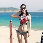Set: Patterned Bikini + Tank Top + Shorts 1596