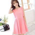 Sleeveless Frilled Trim Pleated Dress 1596