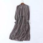 Printed Long-Sleeve Chiffon Dress 1596