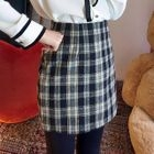 Band-Waist Plaid Mini Skirt 1596