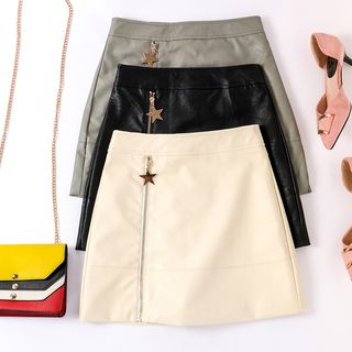 Image of Zip-Front Faux Leather A-Line Mini Skirt