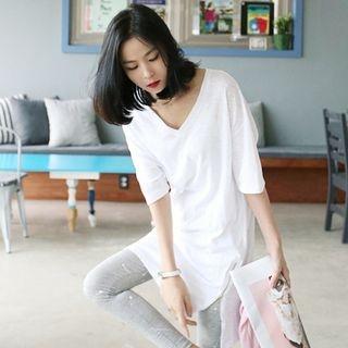 V-Neck Elbow-Sleeve T-Shirt 1066386138
