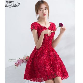 Flower Short-Sleeve Cocktail Dress