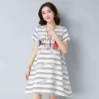 Short-Sleeve Printed A-Line Dress 1061367931