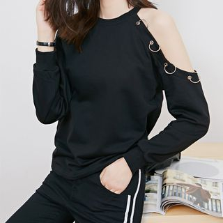 Image For Metal Ring Detail Cut Out Pullover
