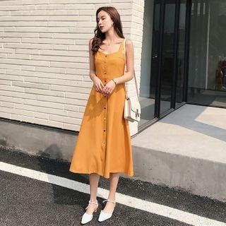 Image of Buttoned Sleeveless Midi A-Line Dress
