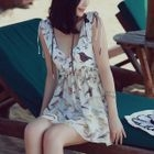 Set: Printed Frill Trim Bikini + Cover-Up 1596